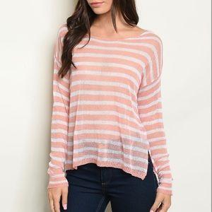 Pink peach & ivory light knit stripe sweater NEW🍑